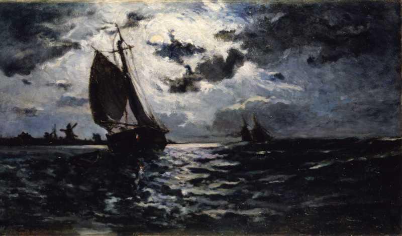 Paul Gauguin, Sailing Vessel - Moonlight, 1878
