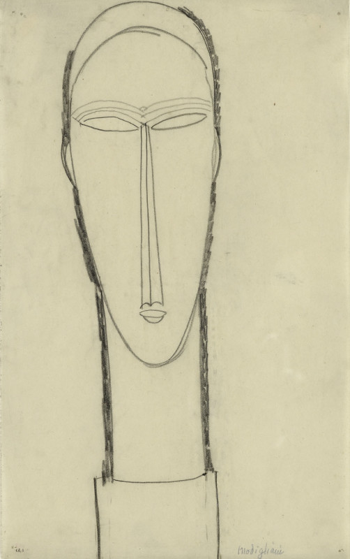 Amedeo Modigliani, Head, Full-Face on Plinth, c.1911