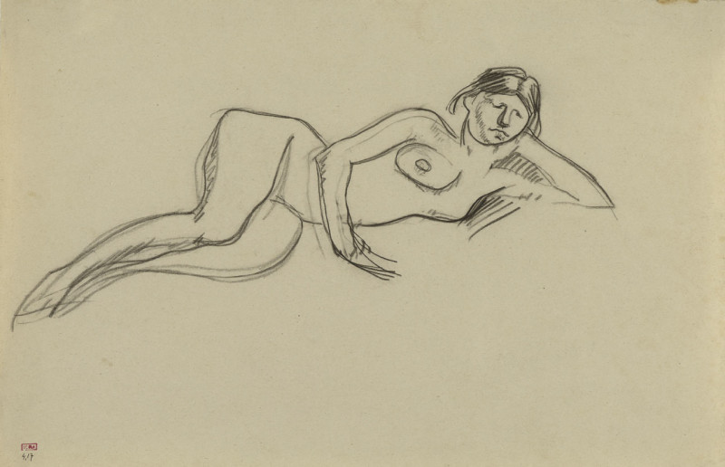 Amedeo Modigliani, Female Nude Reclining on Left side, Head Leaning on Left Hand, c.1909