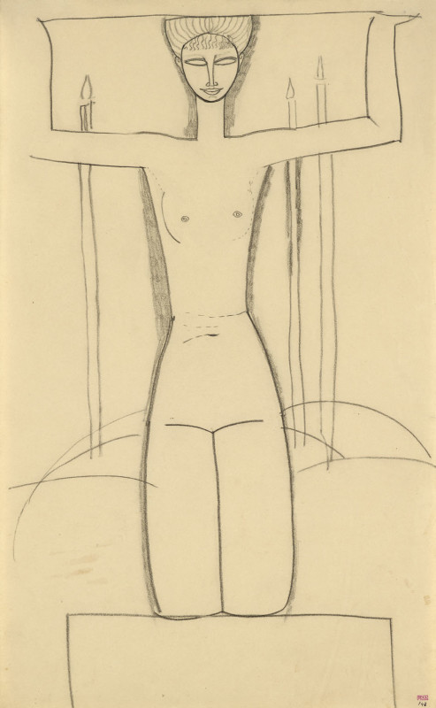 Amedeo Modigliani, Caryatid, Frontal View, Kneeling on Plinth; Three Lighted Candles, c.1911