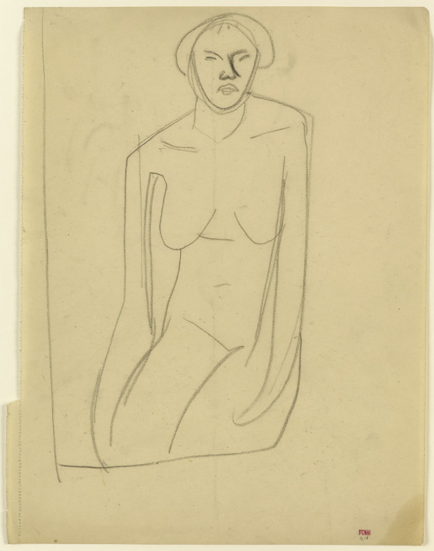 Amedeo Modigliani, Study of Seated Female Nude, Frontal View, Arms Hanging, c.1909