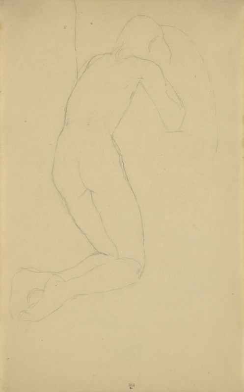 Amedeo Modigliani, Kneeling Male Nude, Back View, Three Quarters to Right, c.1906