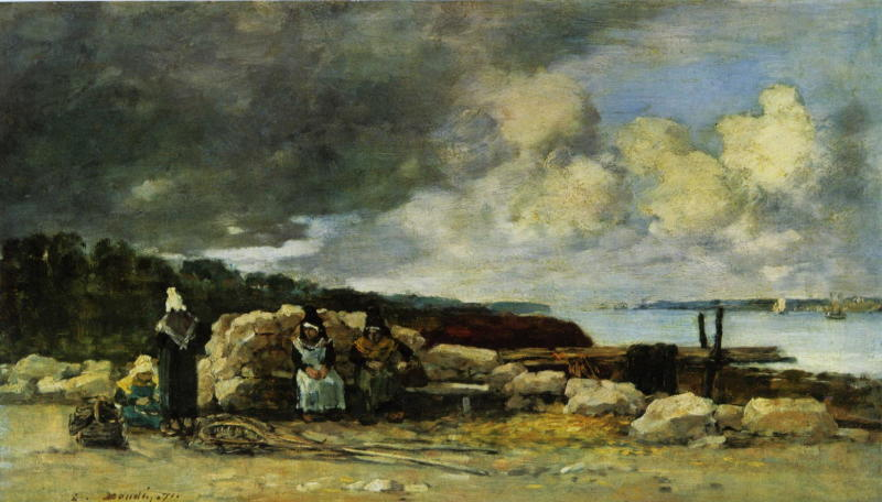 Eugene Boudin, Fisherwomen at Brest, 1871