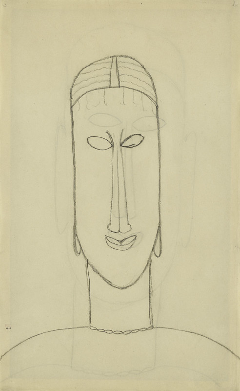 Amedeo Modigliani, Head with Earrings [recto], Head [verso], c.1911