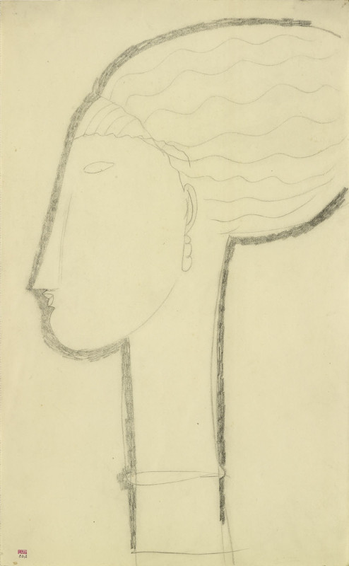 Amedeo Modigliani, Head in Left Profile with Earring and Necklace, c.1911