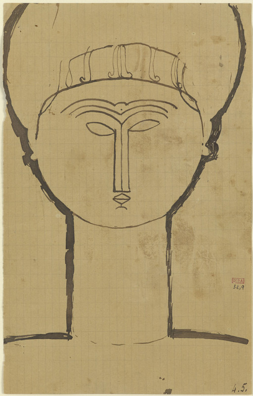 Amedeo Modigliani, Head & Shoulders, Full Face, 1911-12