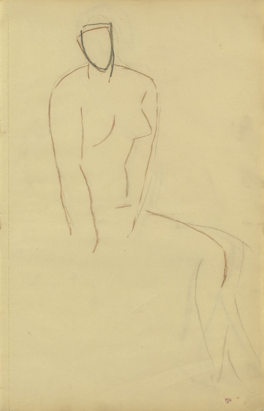Amedeo Modigliani, Study of Seated Female Nude, Three-Quarter View to Right, c.1907