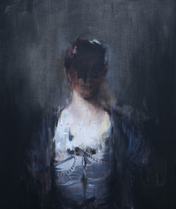 Jake Wood-Evans, Portrait of a Woman in a White Silk Dress, after Reynolds, 2016