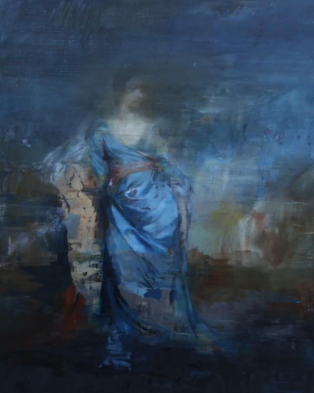 Jake Wood-Evans, Portrait of a Woman in Blue Silk, after Reynolds, 2017