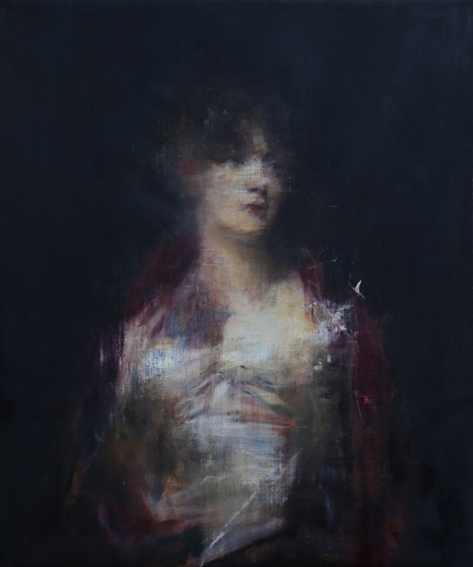 Jake Wood-Evans, Portrait of a Woman in Red, after Sir Henry Raeburn, 2016