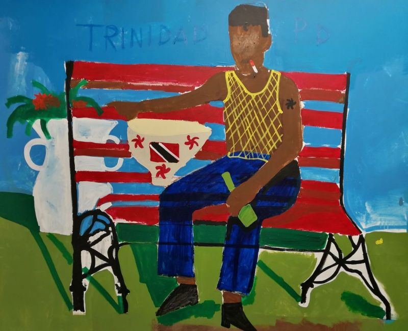 Peter Doyle, Calypso Musician Sitting on a Red Bench, 2017