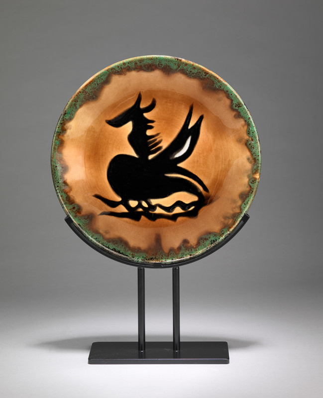 Jean Lurçat, Plate - Orange & Green - Pegasus, c. 1955
