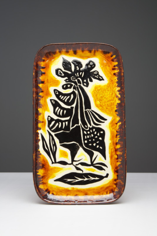 Jean Lurçat, Plate - Rectangular - Orange & Brown - Daybreak, c. 1955