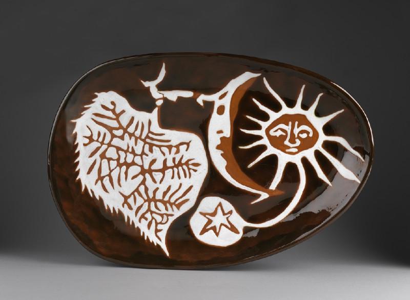 Jean Lurçat, Plate - Oval - Brown - Living Universe, c. 1955