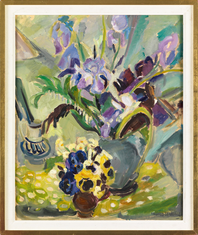 Mildred Bendall, Irises and Pansies, c. 1935