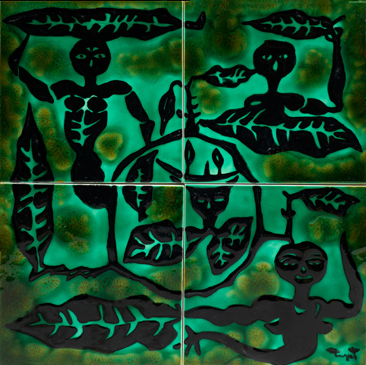 Jean Lurçat, Tile - Square - Green - Four Tiles - Spirits of Nature, c. 1955