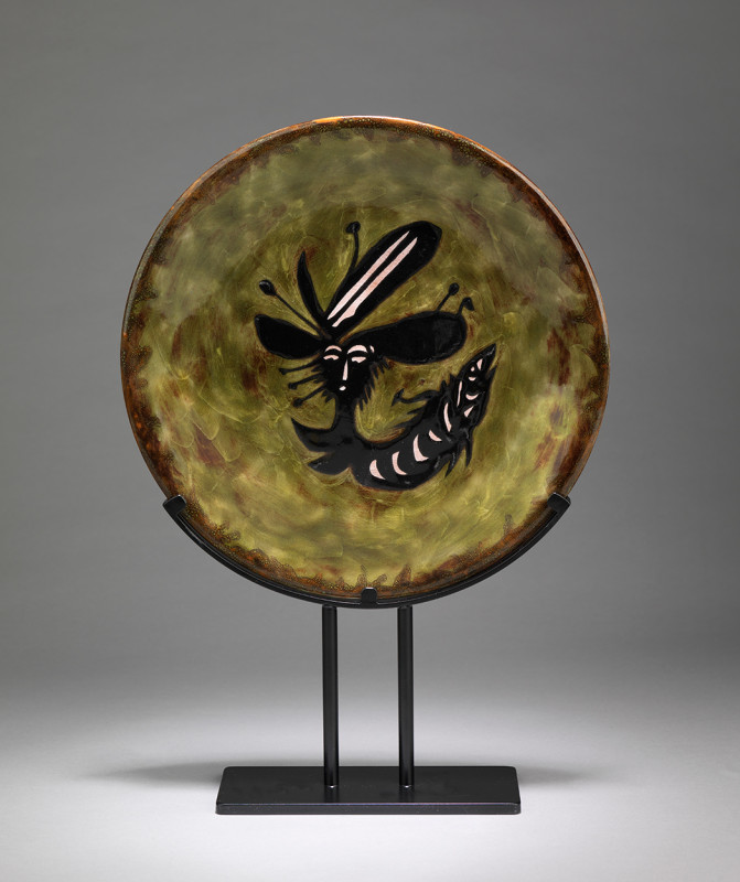 Jean Lurçat, Plate - Green & Black - King Fish, c. 1955