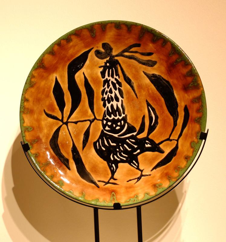 Jean Lurçat, Plate - Orange - Picnicking Rooster, 1955