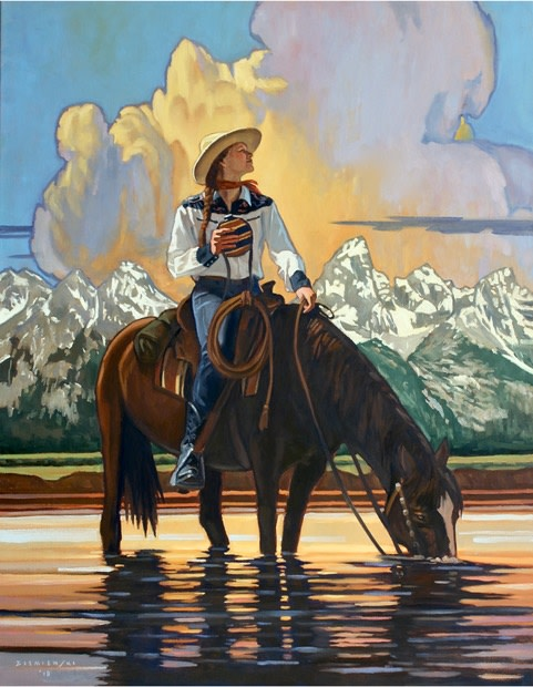 "Featured painting, ""Teton Reflections"" 54 by 42 inches, Oil on Linen"