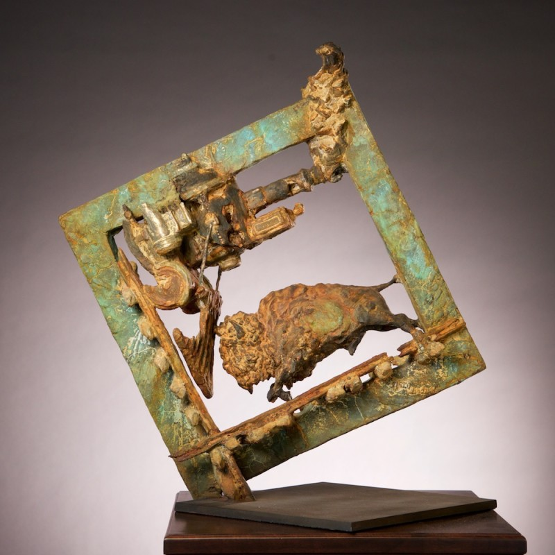 "Greg Woodard, ""Cornered"", Bronze, 30 x 28 x 9 inches on a 14 x 14 inch base (edition of 21)"
