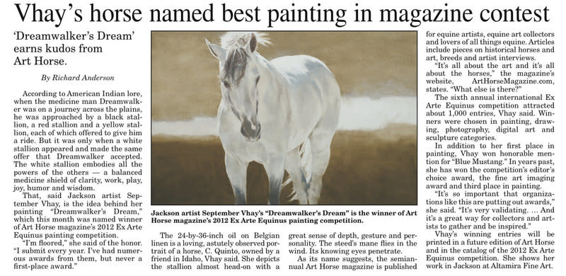 Vhay's Horse Named Best Painting in Magazine Contest