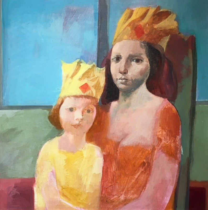 HAROLD WOOD (1918-2014)  MOTHER AND CHILD IN PAPER HATS, 1960's  SOLD