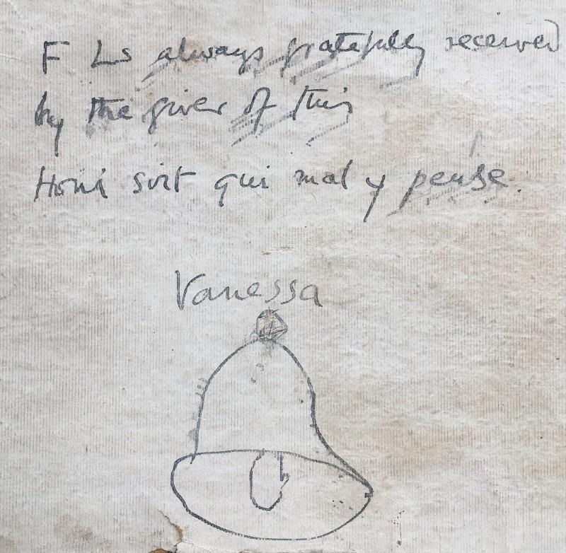 VANESSA BELL (1879-1961)  LEATHER LETTER FOLDER GIVEN TO DAVID (BUNNY) GARNETT