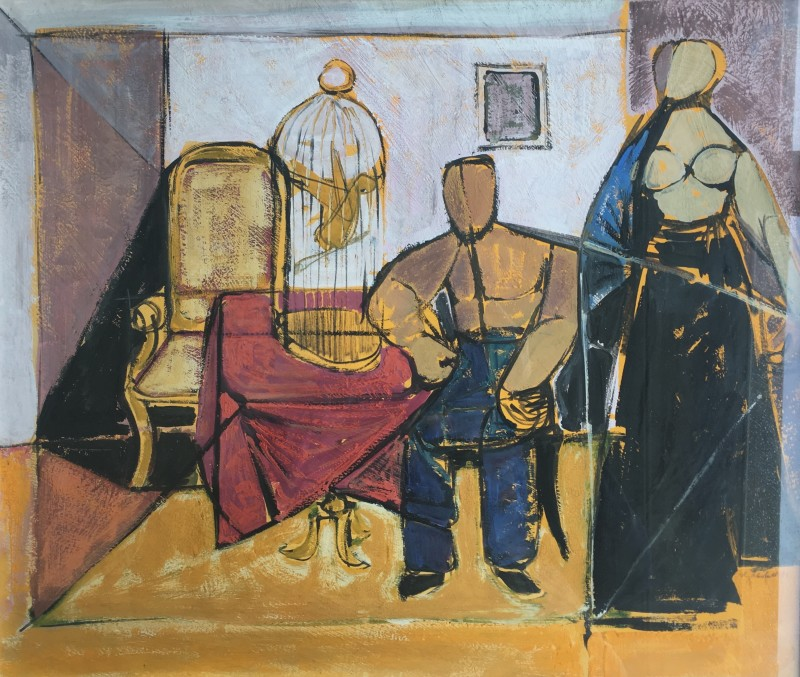 ROY HOBDELL (1911-1961)  INTERIOR WITH BIRD CAGE  SOLD