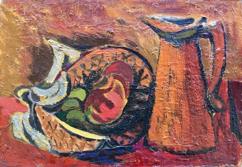 KENNETH LAUDER (1916-2004)  BASKET OF FRUIT AND JUG