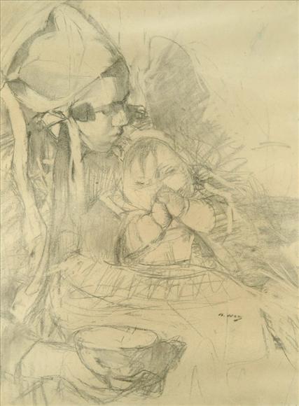 BEATRICE HOW (1867-1932)  NOUNOU ET BÉBÉ