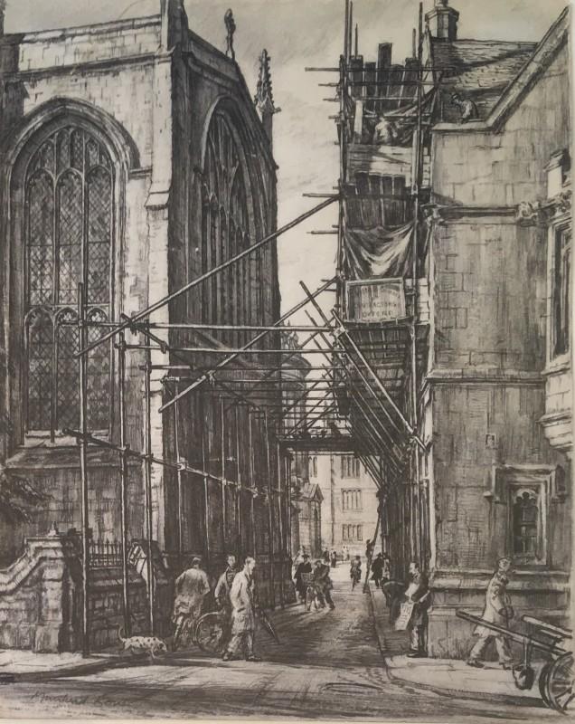 SIR DAVID MUIRHEAD BONE (1876-1953)  A GLIMPSE OF THE REDCLIFFE CAMERA, OXFORD  SOLD