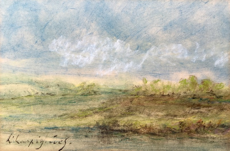 HENRI JOSEPH HARPIGNIES (1819-1916)  PAYSAGE  SOLD