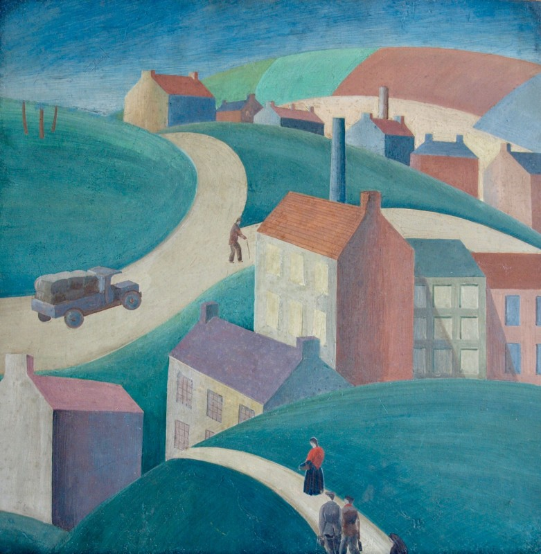 JEAN HUGO (1894-1984)  LANDSCAPE WITH INDUSTRIAL TOWN, c. 1950's