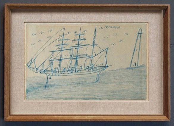 ALFRED WALLIS (1855-1942)  3-MASTED BARQUE AND LIGHTHOUSE  SOLD