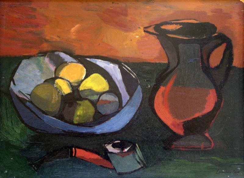 Kenneth Lauder, Still Life with Fruit, Jug and Pipe , 1949