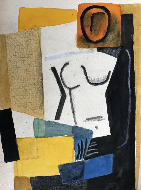 Carlos Carnero (1922-1980)Nu (jaune et orange), c. 1955
