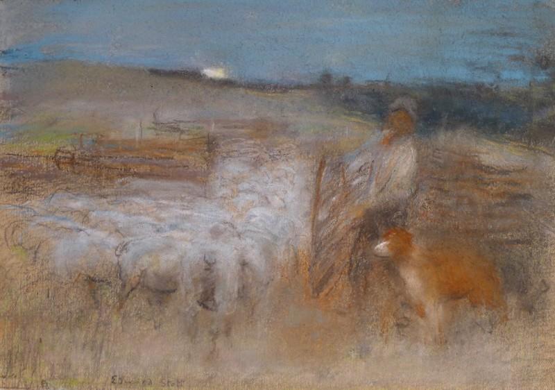 Edward Stott (1885-1918)The Sheep Fold, 1898