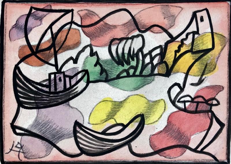 Doris Hatt (1890-1969)Mediterranean coastal scene I, c. 1960