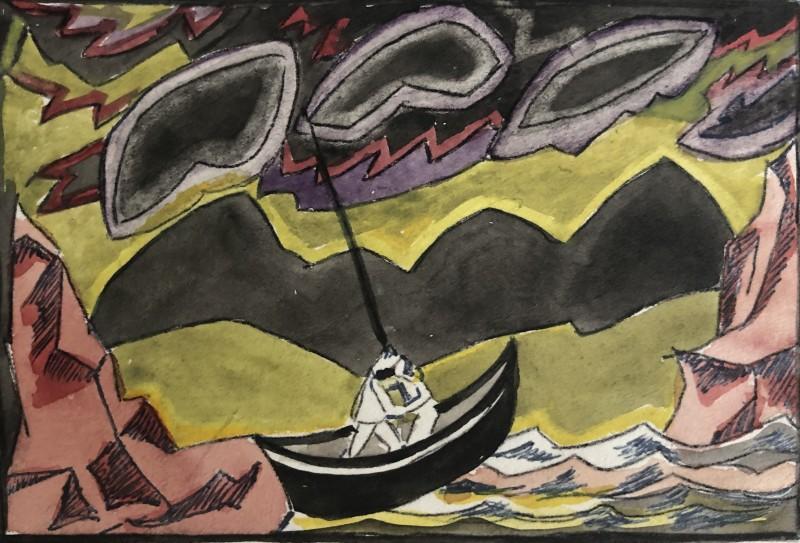 Doris Hatt (1890-1969)Boat in Storm, c. 1960