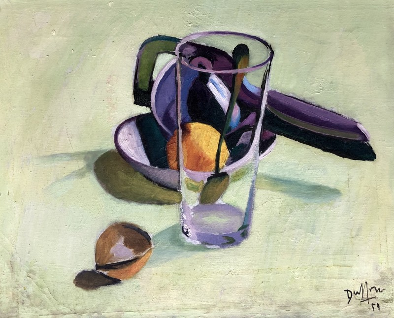 Jacques André Duffour, STILL LIFE WITH FRUIT AND GLASS, 1951