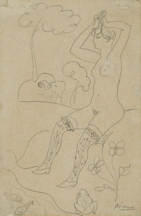 Pablo Picasso (1881-1973)Baigneuse au bord d'un ruisseau et un vieillard, 1903/4