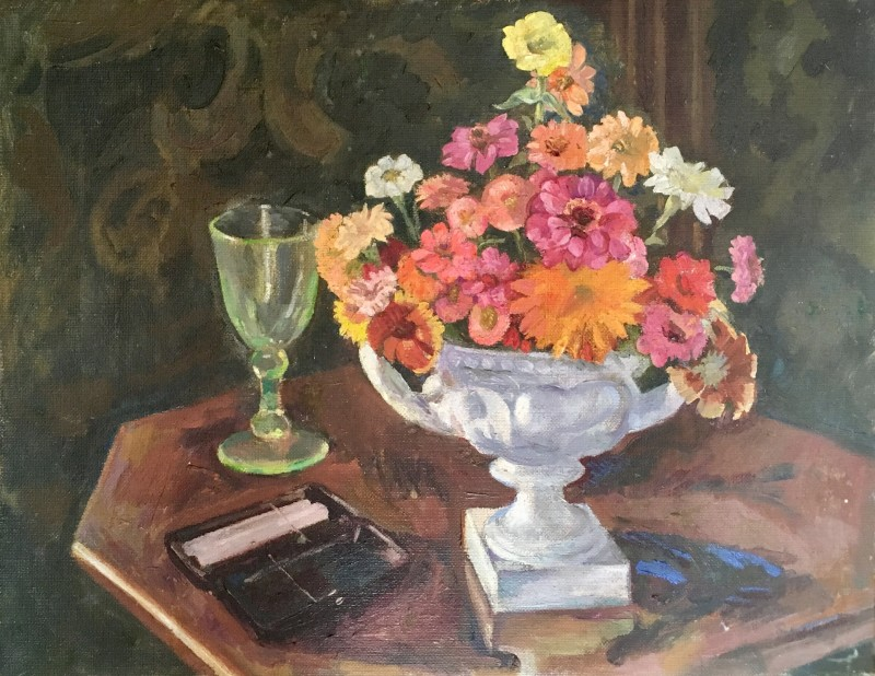 Rupert Lee (1887-1959)Still Life with Flowers and Green Wine Glass, c. 1930