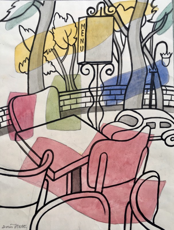 Doris Hatt (1890-1969)Café Terrace, c. 1950