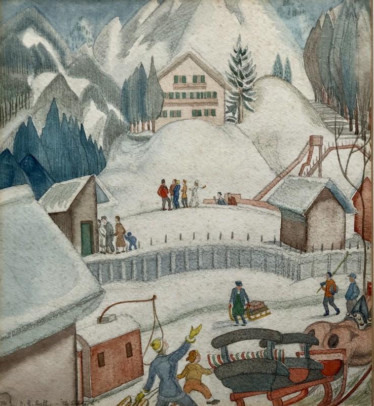 Doris Hatt (1890-1969)Ski Resort, Austria, 1922