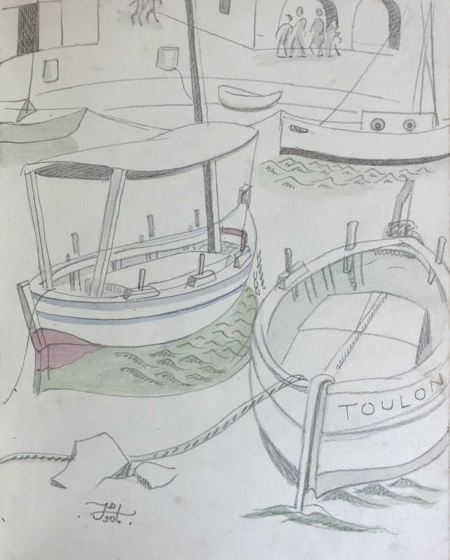 Doris Hatt (1890-1969)Harbour Boats, St. Tropez, 1950