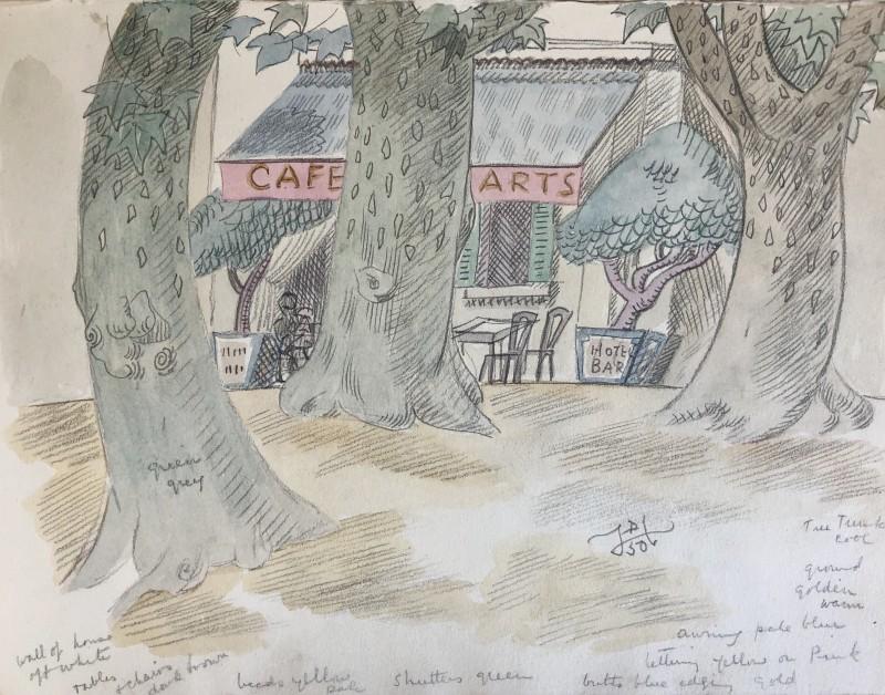 Doris Hatt (1890-1969)Café des Arts, St. Tropez, 1950