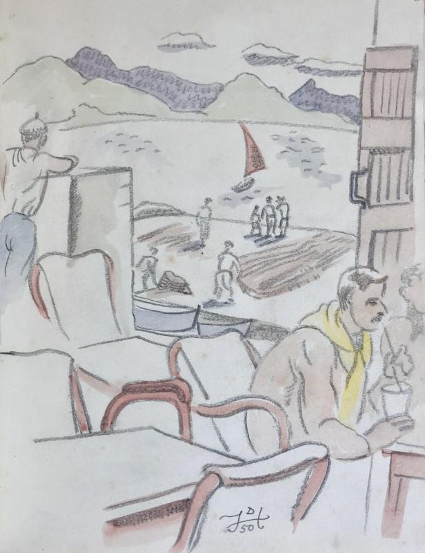 Doris Hatt (1890-1969)Café Terrace, St. Tropez, 1950