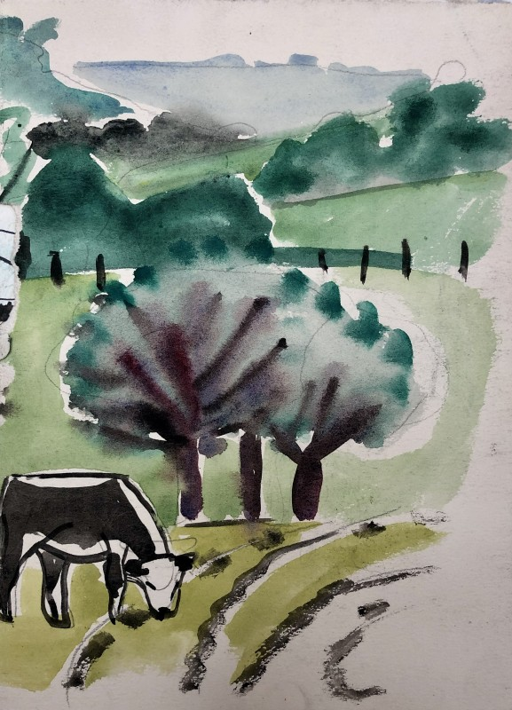 Carlos Carnero (1922-1980)Paysage avec vache, c. 1948