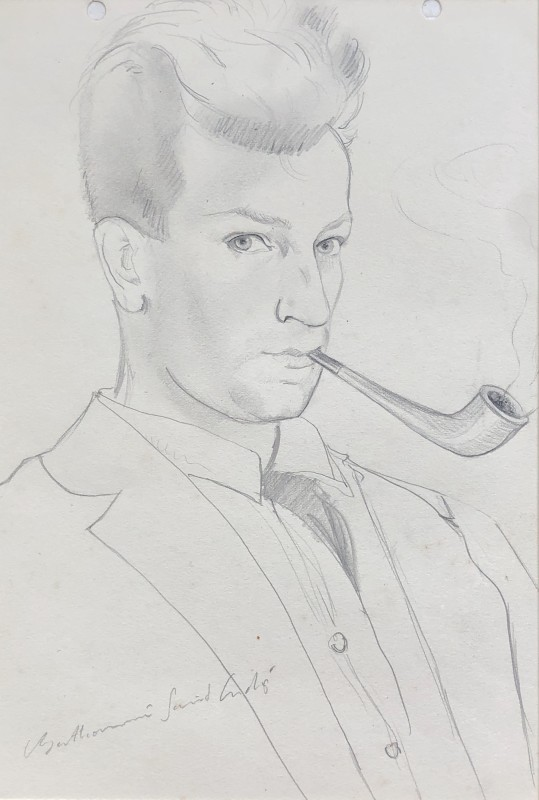Louis Berthommé-Saint-André (1905-1977)Self Portrait with Pipe, 1925