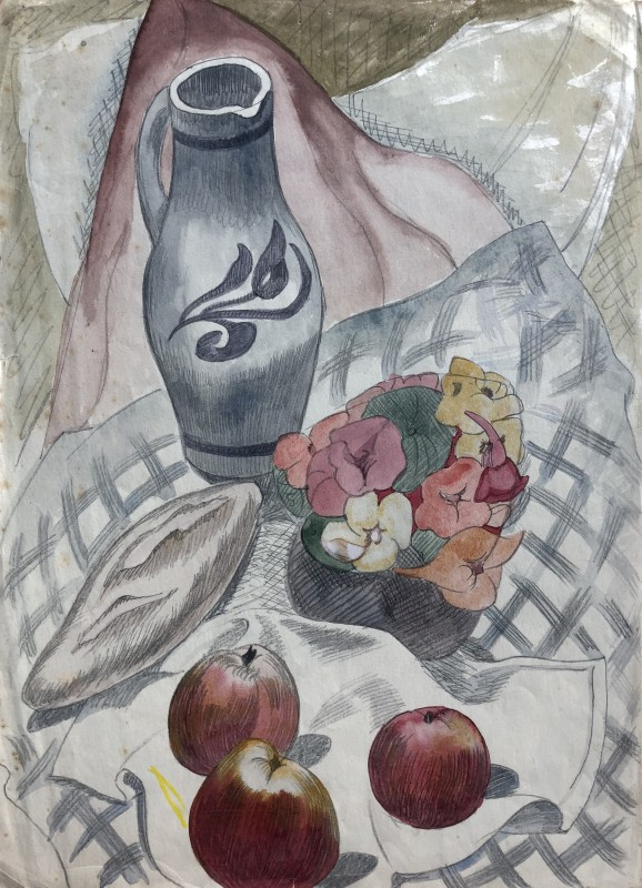 Doris Hatt (1890-1969)Still Life with Decorated Jug, Apples and Flowers, c. 1950